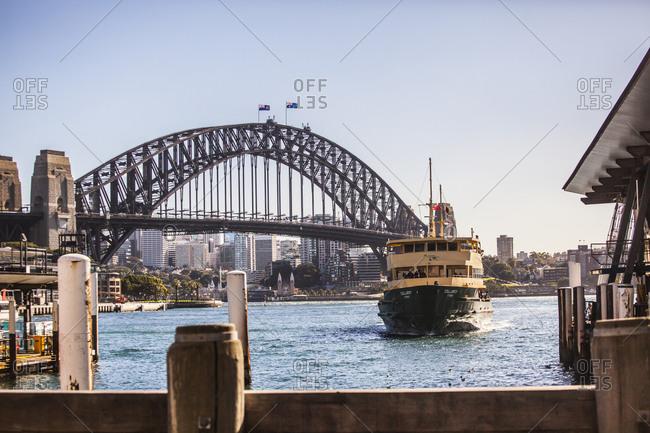 Sydney, Australia - May 13, 2015: Ferry entering harbor