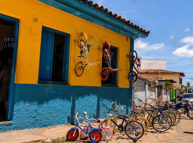 Bikes lined up infront of rental shop