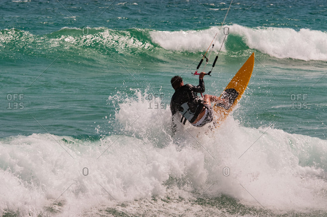 Man kitesurfing in Rio de Janeiro