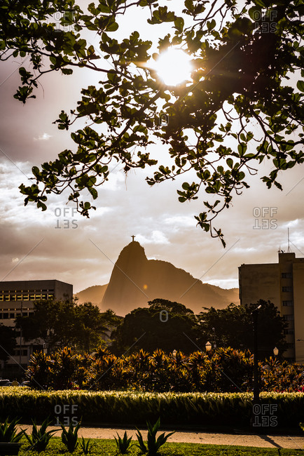 Rio de Janeiro, Brazil - September 27, 2013: Christ the Reedmer statue in the distance