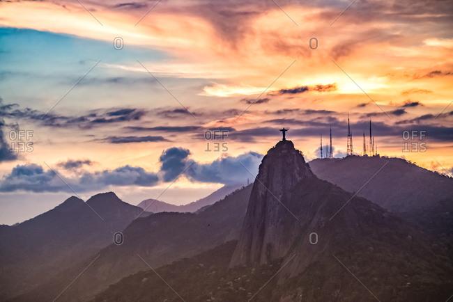 Rio de Janeiro, Brazil - September 27, 2013: Statue of Christ the Redeemer at sunset