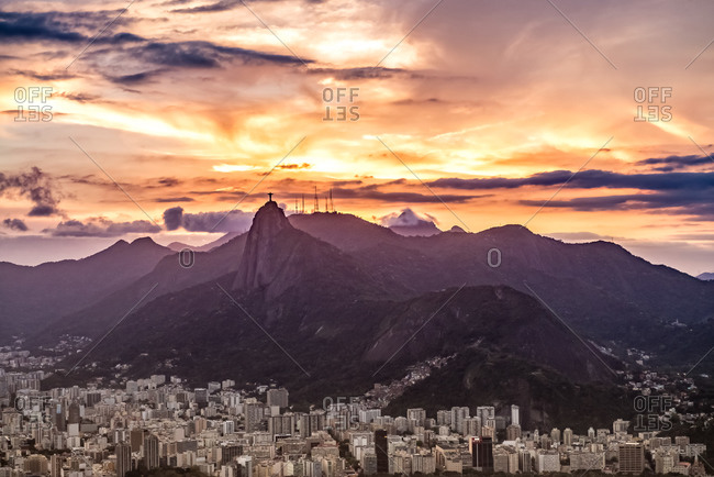 Setting sun over the city of Rio
