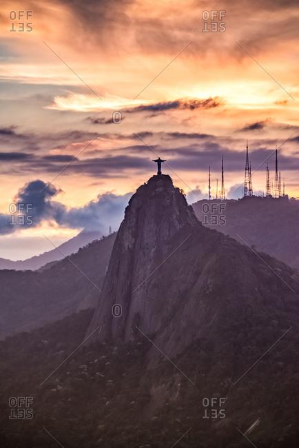 Rio de Janeiro, Brazil - September 27, 2013: Christ the Reedmer statue at sunset