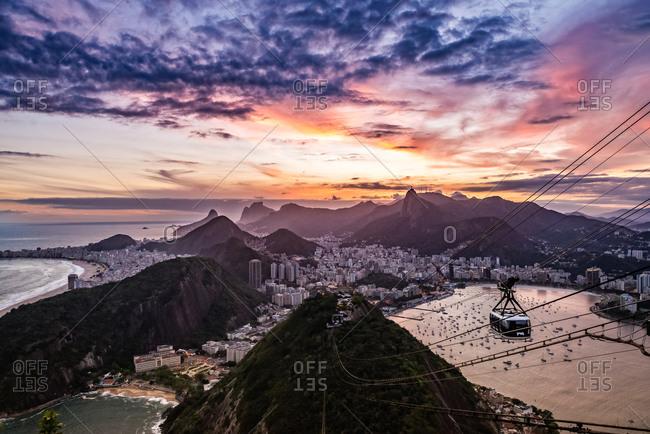 Setting sun in Rio de Janeiro