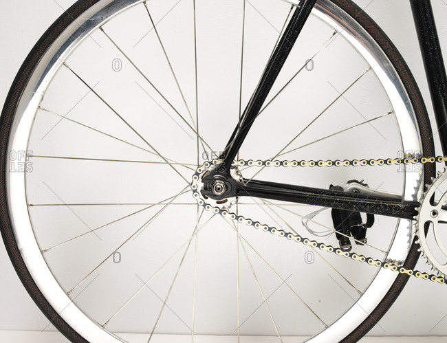 Close-up of wheel of bicycle