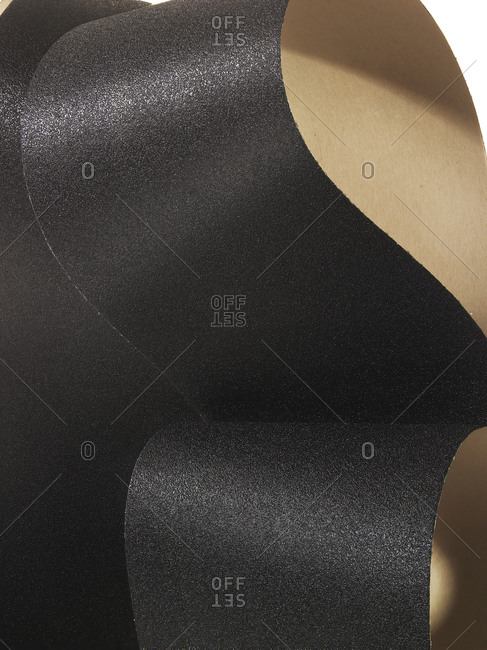 Close-up of loops of black sandpaper