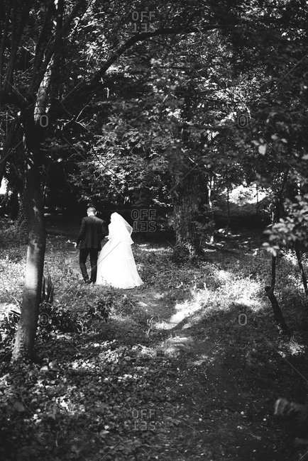 Newly married couple walking into the woods