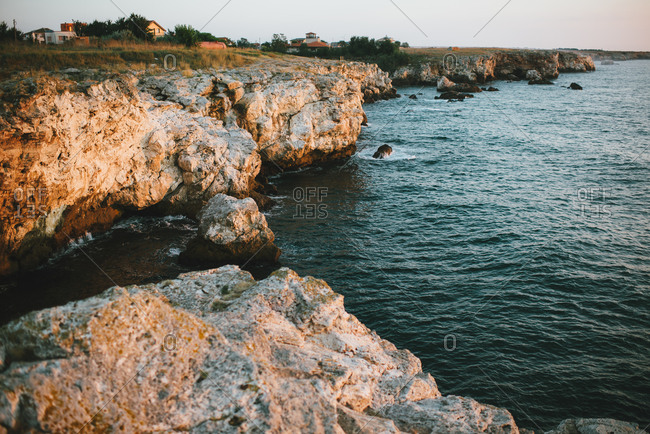 Rocky cliff above the Black Sea at dusk