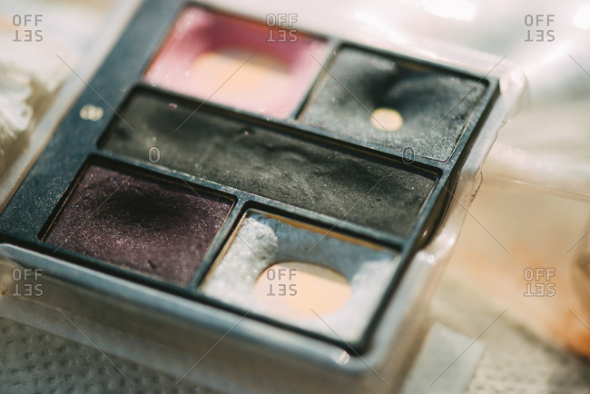 Close up of used eye shadow
