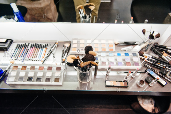 Professional make-up kit on table