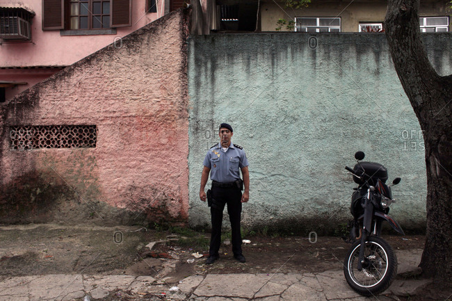 Portrait of a police officer in a slum