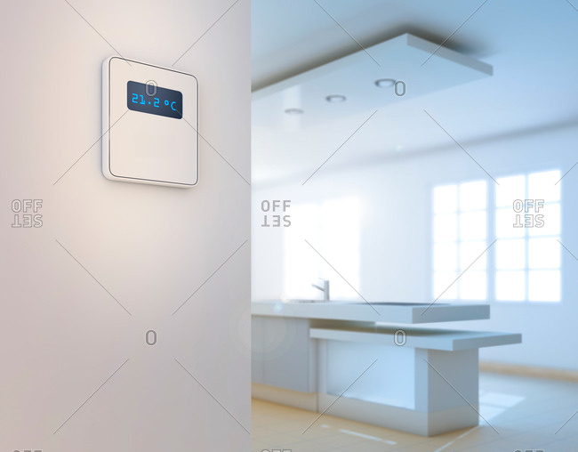 Smart thermostat in domestic kitchen