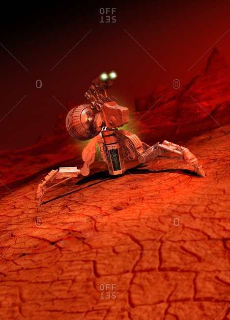 Illustration of space craft landing on a red planet