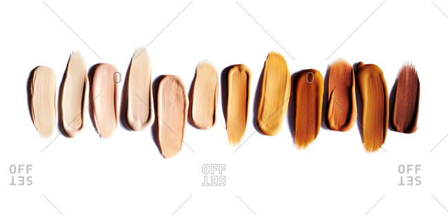 Makeup samples on a white background