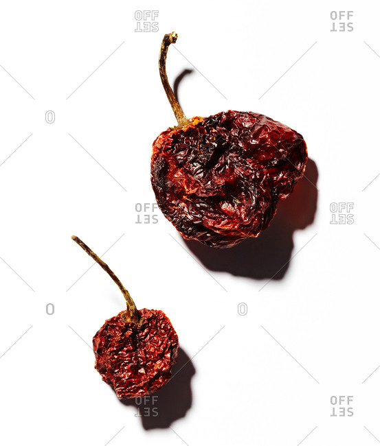 Dried pepper on a white background