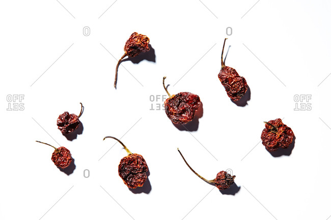 Dried peppers on a white background