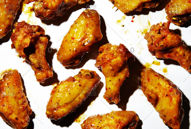 Citrus hot wings on a white background