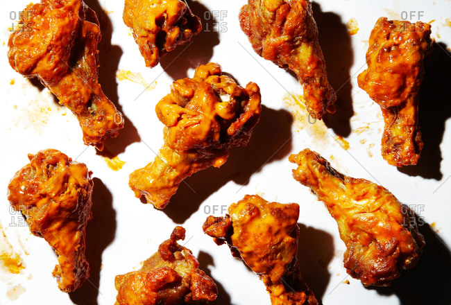 Buffalo chicken wings on a white background