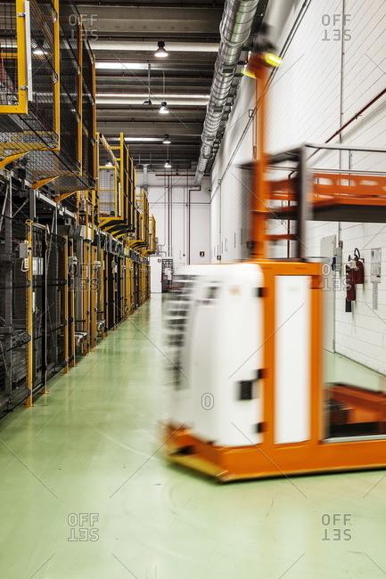 Como, Italy - April 1, 2015: Machinery on the floor of a tuna factory, Como, Italy