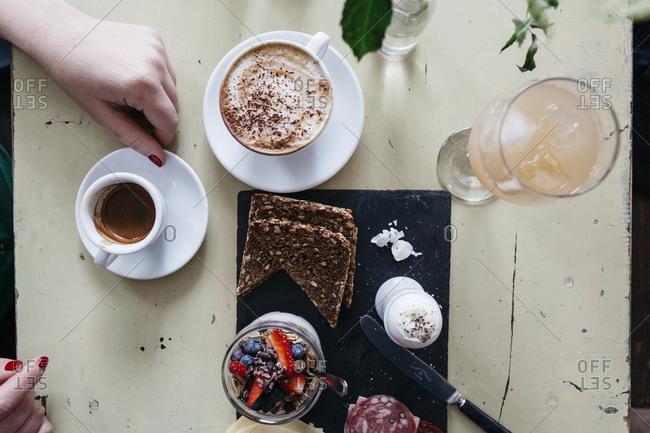 Danish breakfast with coffee