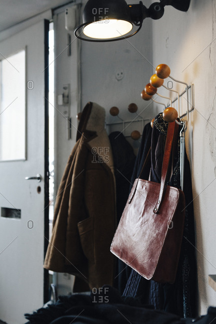 Coats hanging in the entryway