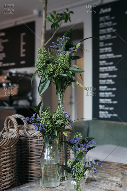 Floral arrangement in a cafe