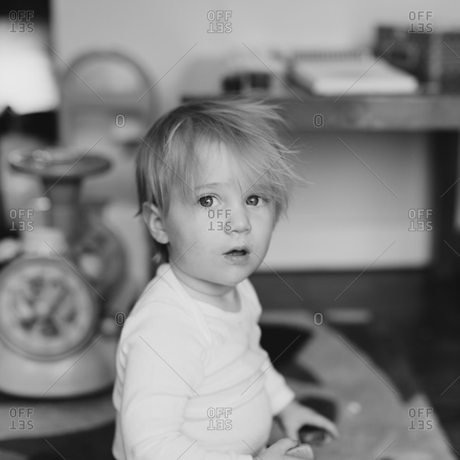 Portrait of a young, blonde haired boy
