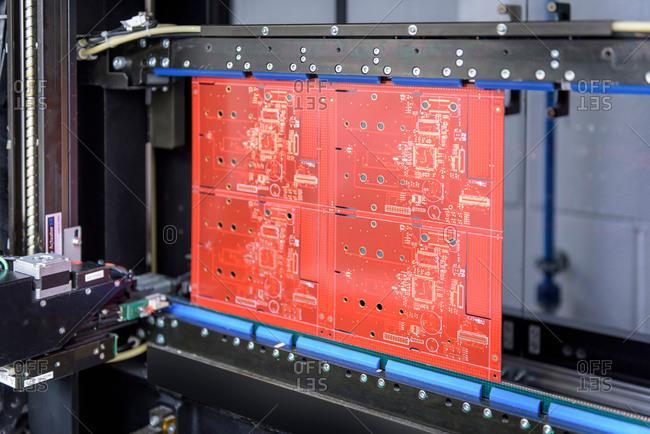 Circuit board in testing machine in circuit board factory