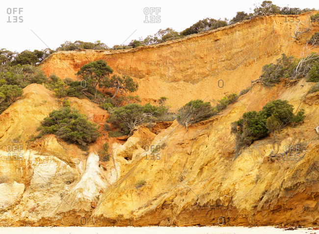 Eroded cliff and beach, Point Addis National Park, Anglesea, Australia