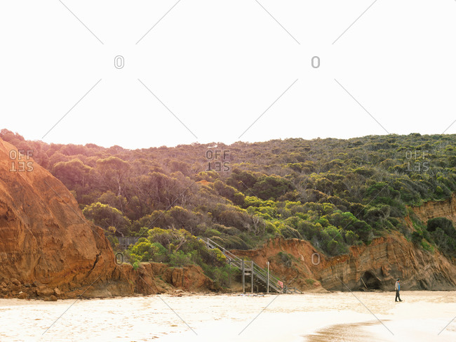 View of cliffs and beach, Point Addis National Park, Anglesea, Australia