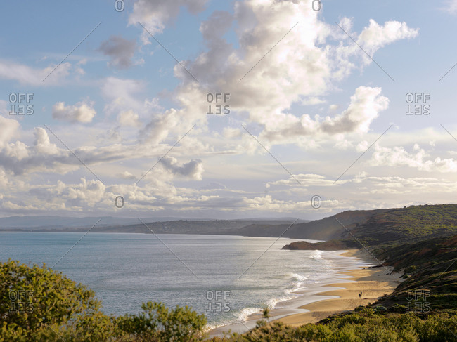 Elevated view of beach and sea, Point Addis National Park, Anglesea, Australia
