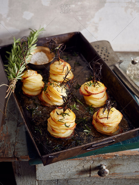 Roasted shaved potatoes with rosemary and salt