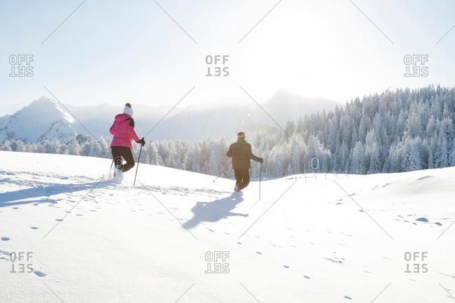 Rear view of senior couple using walking poles on snow covered landscape, Sattelbergalm, Tyrol, Austria