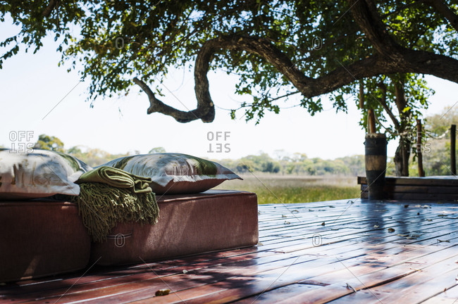 View of seats at safari lodge, Kafue National Park, Zambia
