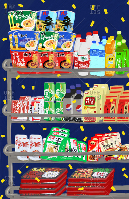 Toronto, Canada - June 27, 2015: Rack filled with snack foods and drinks
