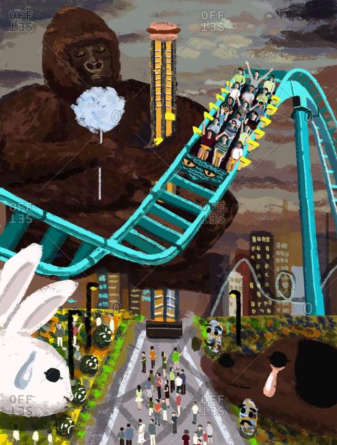 Giant gorilla at an amusement park