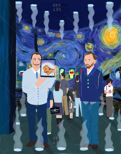 Salvador Dali and Vincent van Gogh standing together at an art show