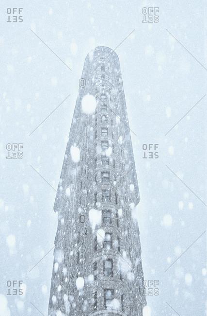 New York City, NY, USA - January 23, 2016: Low-angle view of Flatiron Building