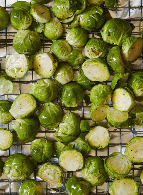 Brussels sprouts on cooling rack