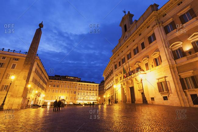 Illuminated Palazzo Montecitorio (Chamber of Deputies of Italy) at dusk