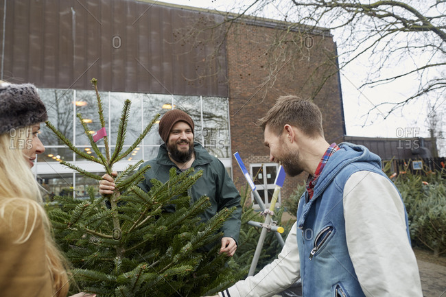 Two staff and a woman client looking at a large Christmas tree