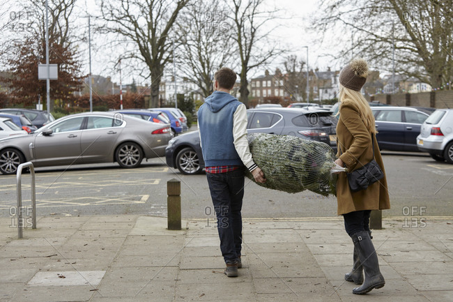 Two people carrying a netted Christmas tree to the car park