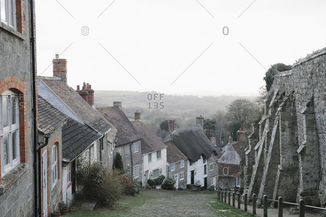 Gold Hill, a steep cobbled street in Shaftesbury, lined with cottages