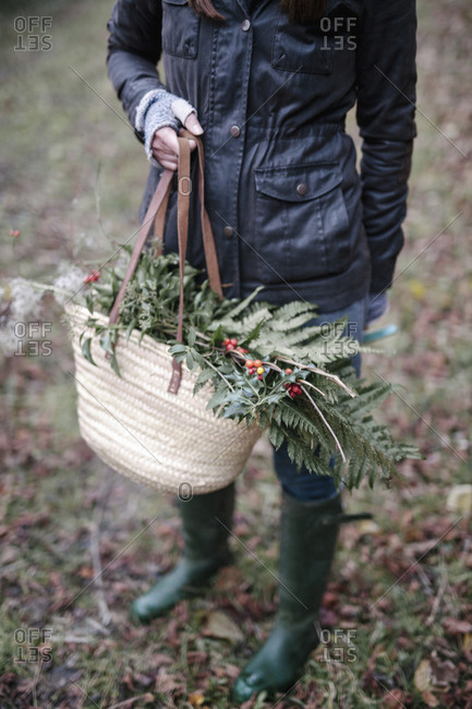 A woman carrying a basket of foliage, evergreen sprigs and glossy laurel with berries
