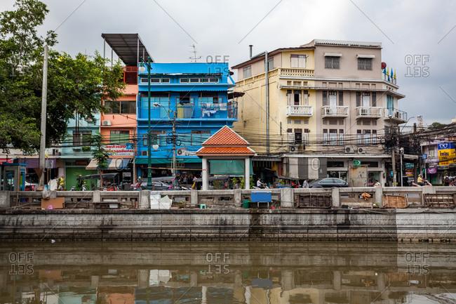 Waterside buildings along Bangkok, Thailand waterways