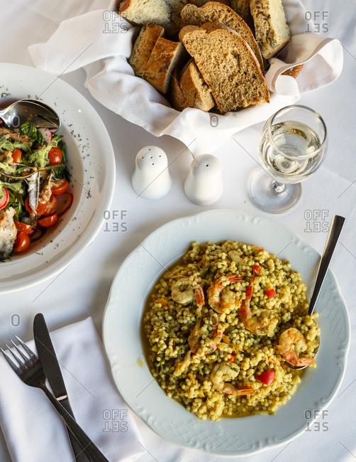 Shrimp and bulgur at a gourmet Greek restaurant