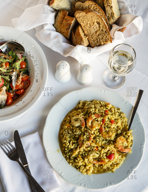 Shrimp and bulgur at a gourmet Greek restaurant