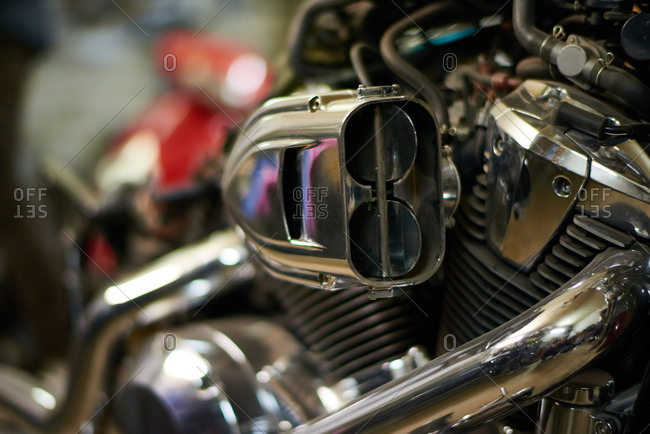 Close up detail of a shiny motorcycle engine