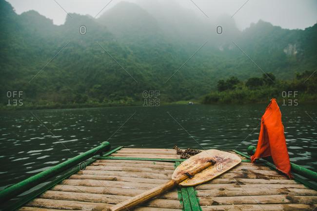 Front end of a tour boat, Trang An, Ninh Binh, Vietnam