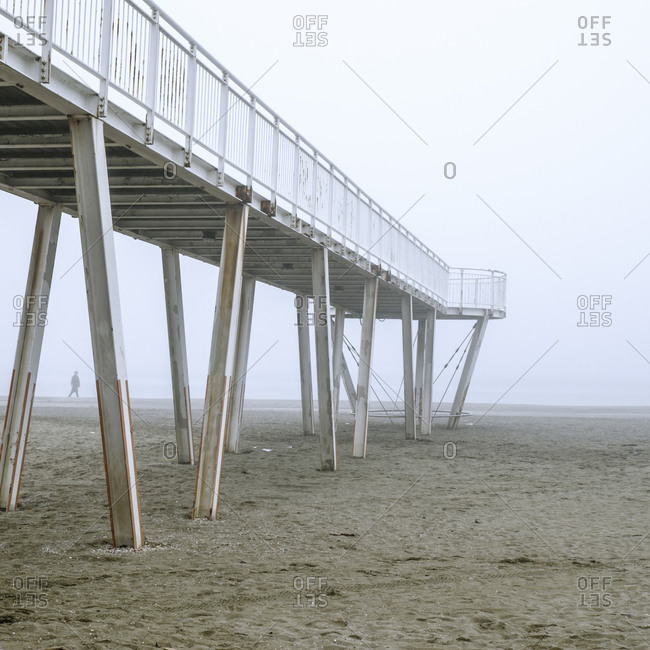 Pier structure on Italian beach